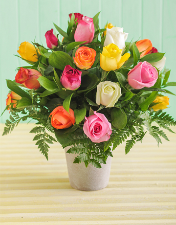 flowers: Mixed Roses in a Pottery Vase!