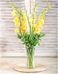 gifts: Yellow Gladiolus in a Glass Vase!