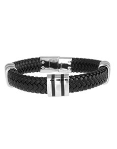jewellery: ARZ Steel And Black Woven Leather Bracelet!