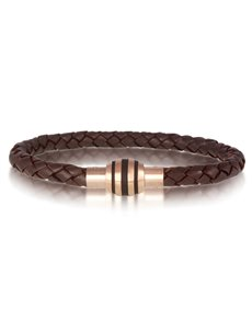 jewellery: ARZ Steel Two Tone Brown Leather Bracelet!