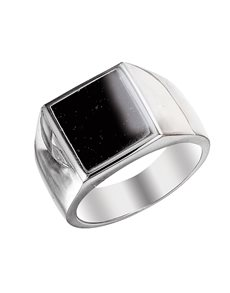 jewellery: Sterling Silver Square Onyx Gents Ring !