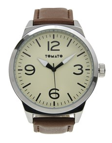 watches: Tomato Gents Beige Dial and Brown Strap Watch!