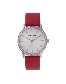 watches: Tomato 36mm Round Ladies Red and Stone Watch!