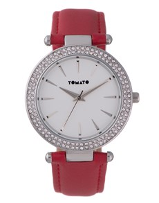 watches: Tomato Ladies Red with Cubic Watch!