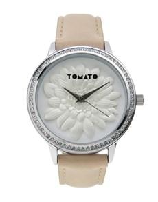 gifts: Tomato Ladies Silver 3D Flower Design Watch!
