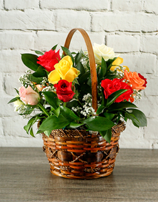 flowers: Mixed Roses Basket!