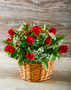 flowers: Romantic Red Rose Basket!