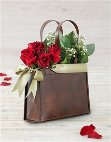 flowers: Red Roses in a Rusted Handbag!