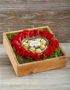 flowers: Red Roses and Ferreros in a Wooden Box!