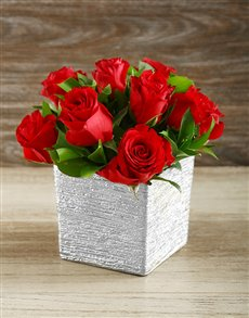 flowers: Red Roses in Silver Ceramic Vase!