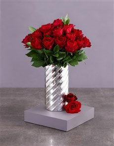 flowers: Red Roses in Cylinder Twirl Vase!