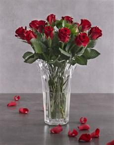 flowers: Elegant Red Roses in Crystal Vase!