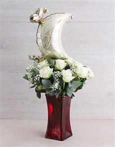flowers: Moon and Back White Rose Vase!