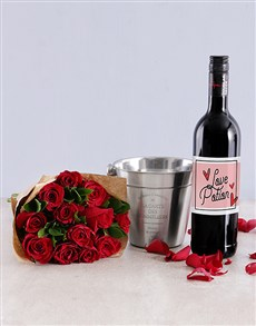 gifts: Red Rose and Wine Combo!