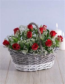 flowers: Romantic Red Rose Basket!