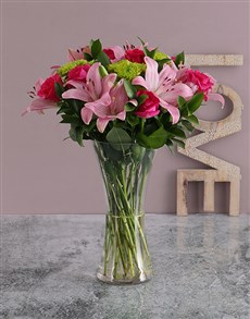 Pink Lilies and Cerise Roses in a Vase