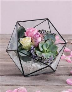 flowers: Romantic Rose Succulent Terrarium!