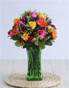 flowers: Colourful Blooms In Green Vase!