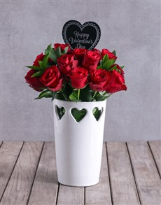 flowers: Red Roses In Valentines Heart Vase !
