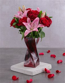 flowers: Valentine Blooms In Red Twisted Vase!