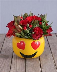 flowers: Mixed Red Flowers In Heart Eyes Emoji Pot!