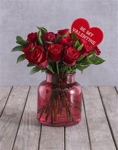 flowers: Valentines Red Roses In Ruby Red Vase!