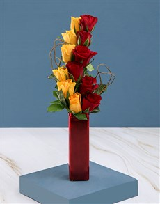 flowers: Red And  Yellow Rose Vase Arrangement!