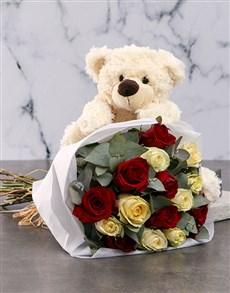 flowers: Delightful Mixed Roses And Teddy Gift!