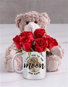 flowers: To The Moon Floral Mug with Teddy!