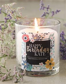 gifts: Personalised Floral Happy Birthday Candle!