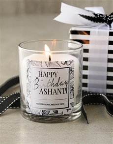 gifts: Personalised Monochrome Happy Birthday Candle!