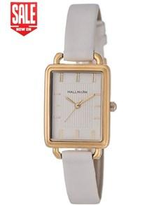 watches: Hallmark Ladies White Rectangular Watch!