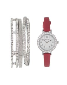 jewellery: Hallmark Ladies Red And Silver Gift Watch!
