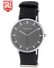 watches: Hallmark Gents Black Canvas Strap Watch!