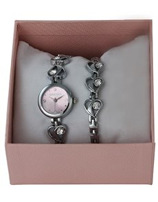 jewellery: Digitime Ladies Silver Hearts Set !