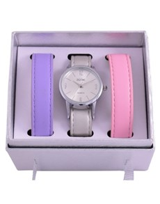 watches: Digitime Ladies Purple And Pink Trio Strap Set!