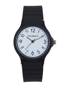 watches: Digitime Kids Analoque Black Dial and Strap Watch!