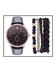 watches: Digitime Depth Black Watch With Jewellery Set!