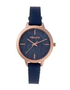 watches: Tomato Ladies Navy Brushed Lines Dial Watch!