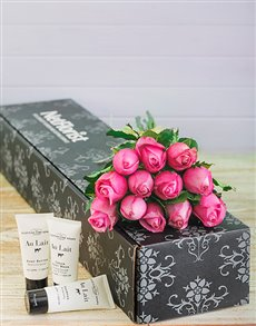 flowers: Pink Roses and Au Lait Pamper Kit!