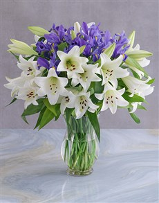 flowers: Irises and Lilies Vase!