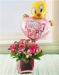 flowers: Tweety Balloon and Mixed Pink Flowers in Square Va!