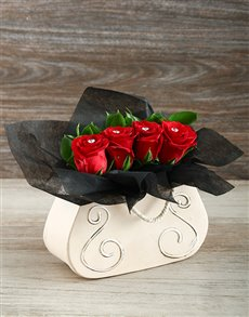 flowers: Red Roses in a Handbag Gift!