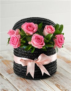 gifts: Pink Roses in a Hat Box!