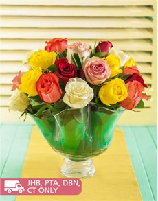 flowers: Mixed Premium Roses in Large Coral Vase!