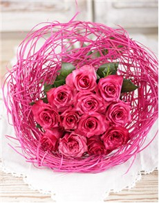 flowers: Pink Bouquet Holder of Cerise Roses!