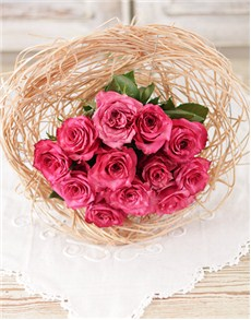 Flowers: Cerise Roses in a Bouquet Holder!