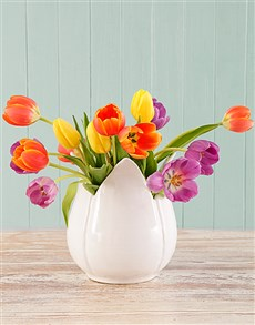 flowers: Bright Tulips in a Tulip vase!