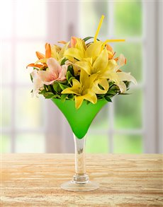 flowers: Lily Arrangement in Cocktail Vase!