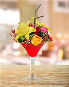 flowers: Mixed Flowers in a Martini Vase!